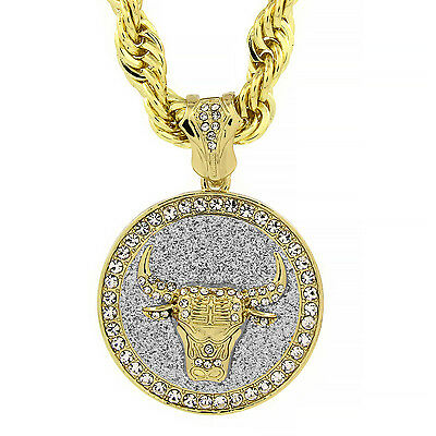 """Men's Gold Tone with Silver Stardust Large Bull Pendant 10mm 30"""" Rope Chain"""