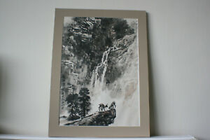 Chinese Landscape Ink & Watercolour Painting on Silk Rice Paper - Signed