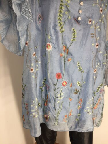 New Sleeves Top Soft Blue Floaty 20 Fits Floral Xl Bell 16 Silky Frilly Tunic WfqFnfO