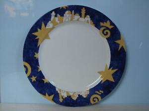 Neu-Arzberg-Speiseteller-27-cm-Weihnachten-Sterne-Blau-Gold-Weihnachtsteller