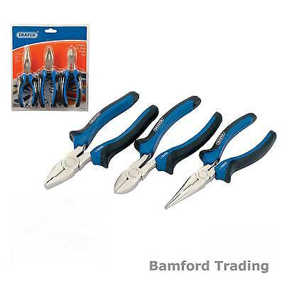 Draper 3Pc Soft Grip Combination Pliers Set Long Nose Cutters Electronics Nipper