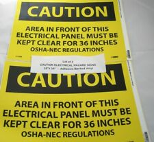Lot Of 2 Caution Electrical Hazard Sign 10x 14 Adhesive Backed Vinyl C115pb