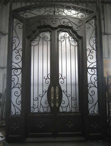 Image is loading Hand-Crafted-12-Gauge-Wrought-Iron-Doors-by- & Hand-Crafted 12 Gauge Wrought Iron Doors by Monarch Custom Doors ...