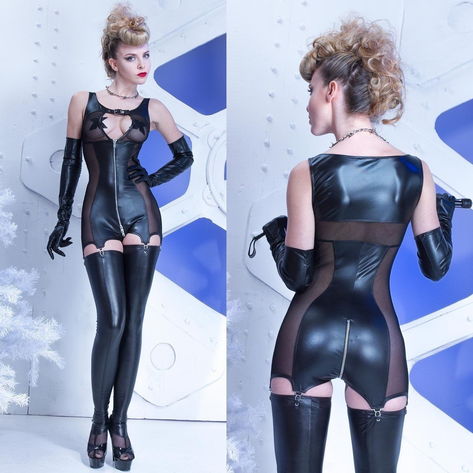 PATRICE CATANZARO Alba Combishort Straps-Body Wetlook Jumpsuit Bodysuit GOTHIC