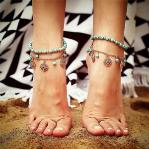 Boho-2PCS-Set-Turquoise-Barefoot-Sandal-Anklet-Foot-Chain-Beach-Ankle-Bracel-CHU