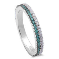 Green Aquamarine & Cubic Zirconia Band .925 Sterling Silver Ring Sizes 4-11