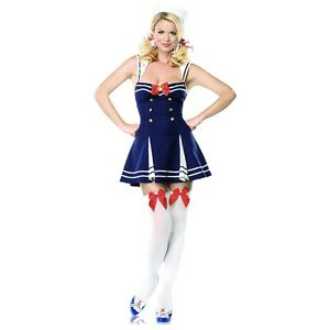 Image is loading Sexy-Sailor-Costume-Adult-50s-Pin-Up-Girl-  sc 1 st  eBay & Sexy Sailor Costume Adult 50s Pin Up Girl Halloween Fancy Dress | eBay