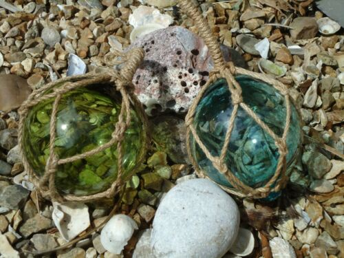 2 x red de vidrio barco de pesca flotadores turquesa y verde Boyas De Baño Náutica 135
