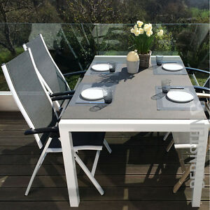 Gartentisch alu 180  Gartentisch SET ALU weiß mit Spraystone Glasplatte 160/180/200cm ...