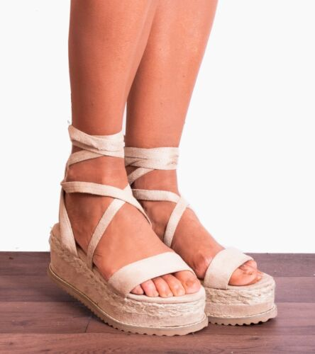 NUDE BEIGE WEDGED WEDGES PLATFORMS STRAPPY SANDALS ESPADRILLES SHOES SIZE 3-8