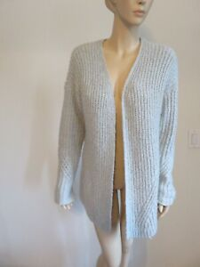 a07833564ae Details about PACSUNS LA HEARTS SOFT FUZZY GRAY CABLE KNIT LONG OPEN  CARDIGAN SWEATER SIZE S/M