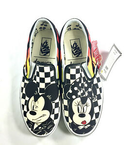 3cd29ac170 NEW! Vans x Disney Slip-On Mickey   Minnie Checkerboard Flame Skate ...
