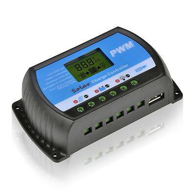 10A 20A 30A 12V/24V Solar Panel Charger Controller Battery Regulator USB LCD PWM