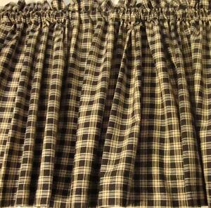 Farmhouse Black And Tan Plaid Homespun Valance Curtain