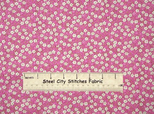 Buttercup Flowers Small Flower Floral Rose Pink Creamy White Cotton Fabric YARD