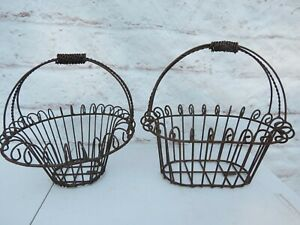 VINTAGE WHITE WIRE STORAGE BASKET EGG HOLDER 3 SHAPES AVAILABLE COUNTRY CHIC