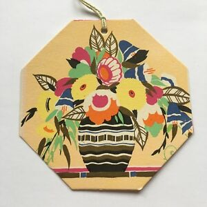 UNUSED Vintage Art Deco Bridge Tally~Flowers in Vase~Gold Accent~1930s~B<wbr/>uzza