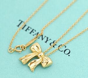 TIFFANY-amp-Co-Bow-Ribbon-Pendant-Necklace-18k-Yellow-Gold-w-BOX-v1876