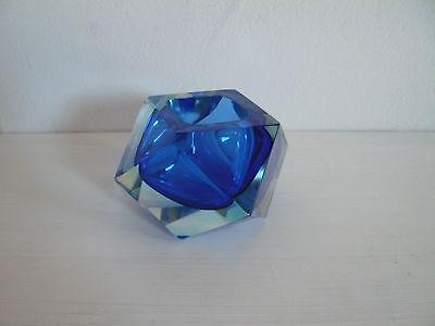 MURANO Vase, eckig, blau, TOP-Zustand!