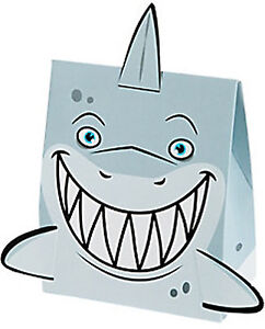 SHARK PARTY Pack of 6 Small Treat Favour Boxes Extended Fins Gift Box Free Post