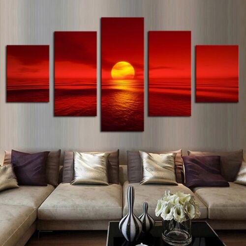 Sunset Red Sun Sea Seascape 5 panel canvas Wall Art Home Decor Print Poster