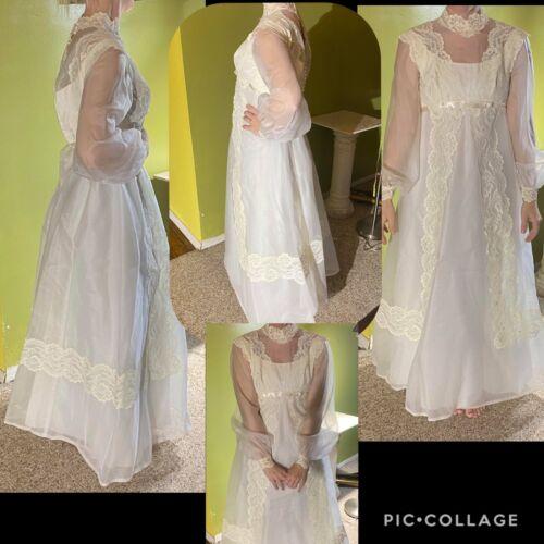 VINTAGE 50s-60s VICTORIAN WEDDING DRESS BRIDAL TUL