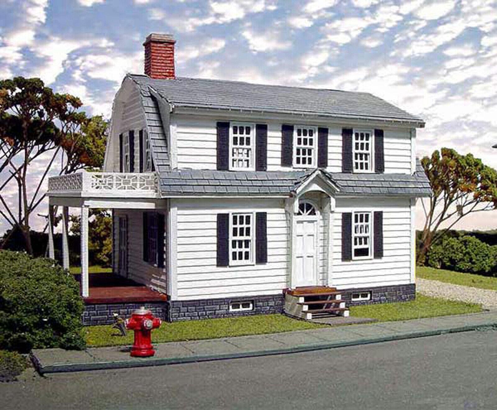 OXFORD HOUSE HO Model Railroad Structure Unpainted Laser-Cut Wood Kit LA617