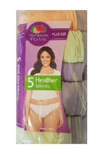 """Fruit of the Loom Women/'s Plus Size /""""Fit For Me/"""" Heather Bikini Panties 5 Pack"""