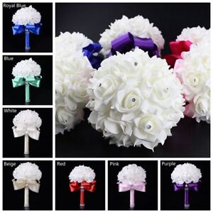 DIY Foam Bridal Wedding Bouquet Rose Silk Flower Rhinestone For Bridesmaid
