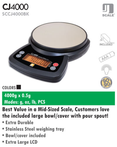 Jennings CJ-4000 Portable Table Top Digital Scale 4000g x 0.5g AC Adapter