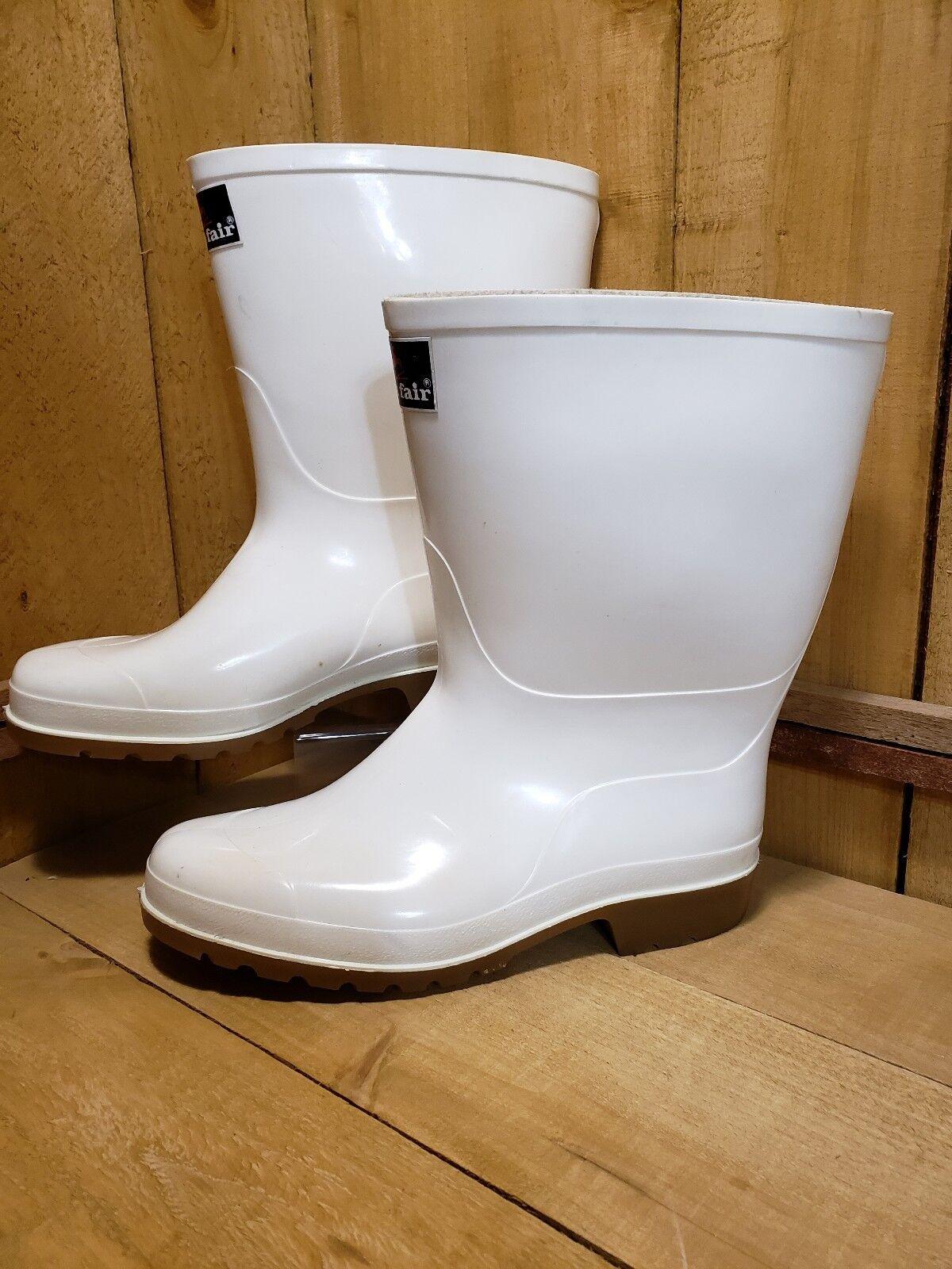 Rainfair Weiß Rubber Rain Industrial Non-Slip Stiefel USA=10 UK=9 EUR=45 10 Tall