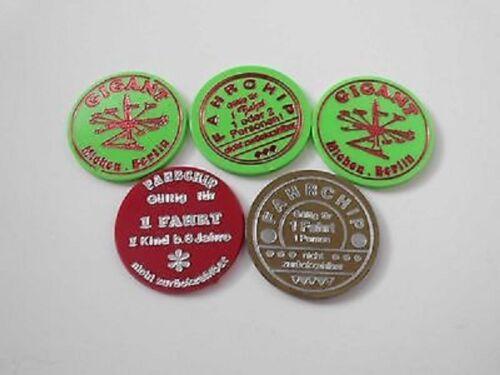 3 grün 5 Kirmes-Chips vom Karussel GIGANT 80er Jahre Westberlin 1 rot 1 gold