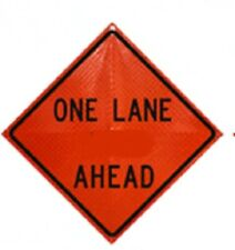 One Lane Ahead Fold And Roll Road Construction Sign 48 Orange Reflect Vinyl