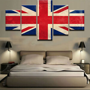 Large Framed Union Jack Flag United Kingdom Canvas Home