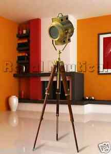 Antique finish spotlight tripod nautical teak wooden floor for Tripod spotlight floor lamp in teak wood