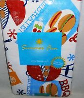 Summertime Fun Vinyl Tablecloth Bbq Celebration 52x 90 Seats 6-8