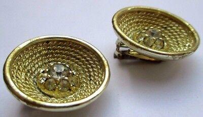 Boucles D'oreilles Clips Couleur Or Cristal Diamant Original Bijou Vintage 2851 Imballaggio Di Marca Nominata