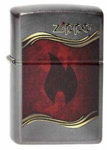 Zippo-Accendino-Flame-e-Logo-Grigio-Crepuscolo-Fiamma-Confezione-Nuovo-Pezzo-da