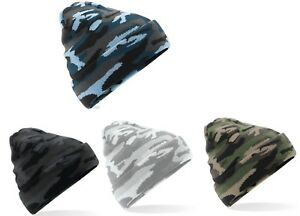 Beechfield Army Camouflage Camo Cuffed Beanie Hat Soft Touch Double Knit Unisex