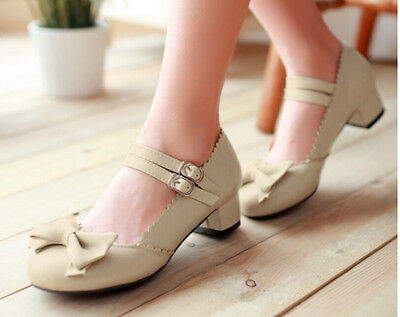 Plus Size Women Sweet Bowknot Mary Jane Block Heel  Ankle Strap Round Toe Shoes