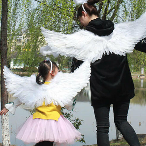Children/'s Adult Natural Feather Angel Wings Fairy with Elastic Strap Cosplay