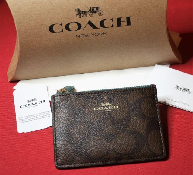 Coach F16107 Mini ID SKINNY Key Chain Case Signature Brown Dark Turquoise 65 bfc15204966db