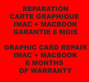 """Réparation carte graphique ATI Radeon HD 4850 iMac 24"""" et 27"""" 2009 (repair only) - France - État : Reconditionné par le vendeur: Objet ayant été remis en état de fonctionnement par le vendeur eBay ou par un tiers non agréé par le fabricant. Cela signifie que l'objet a été inspecté, nettoyé et remis en parfait état de fonctio - France"""