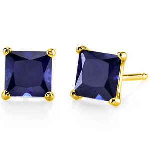 14kt-Solid-Yellow-Gold-Princess-Cut-1-25-4-57ct-Blue-Sapphire-Earrings-Push-Back