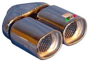 """TWIN Exhaust Tip Stainless Steel, Double Skin, 2.25"""" Inlet NEW (A02-013)"""