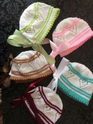 Baby Bonnet à la main en mailles à Rayures Tailles Early nouveau-né ou 3 MTH Choix de Couleurs