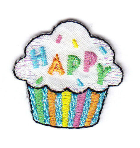 "/""HAPPY/"" CUPCAKE w//SPARKLE ACCENTS BIRTHDAY Iron On Embroidered Patch"