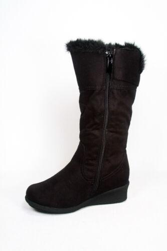 Youth Girl/'s Kid/'s Cute Wedge Heel Mid Calf Zipper Buckle Winter Boot  9-4 NEW