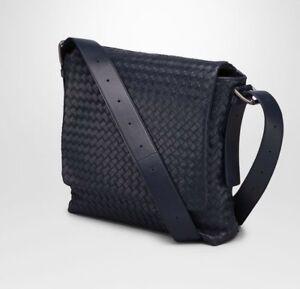 Authentic Bottega Veneta Men Bag Intrecciato Calf Messenger Bag