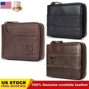 BULLCAPTAIN-Men-Genuine-Leather-Antimagnetic-Card-Slots-Coin-Wallet-Bag-US-STOCK